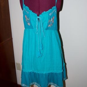 Embroidered Turquoise Sun Dress by Flying Tomato L